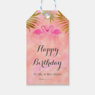 Two Pink Flamingos Watercolor Beach Gift Tags