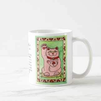 Two Pink Nekos for Luck in Love Coffee Mug