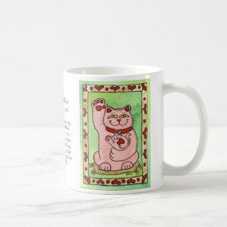 Two Pink Nekos for Luck in Love Mug
