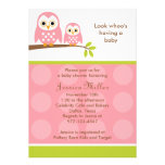 Two Pink Owls Baby Shower Invitations Invitation