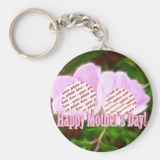 Two Pink Poppies for Mother's Day Photo Frame Keychains