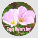 Two Pink Poppies for Mother's Day Round Sticker