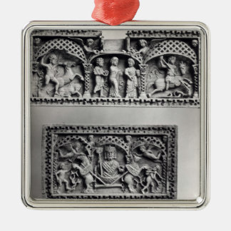 Two plaques from a chest Silver-Colored square decoration