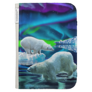 Two Polar Bears, Aurora & Arctic Ice Photo Art Kindle Folio Cases