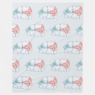 Two Polar Bears Fleece Blanket