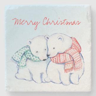 Two Polar Bears Merry Christmas Coasters