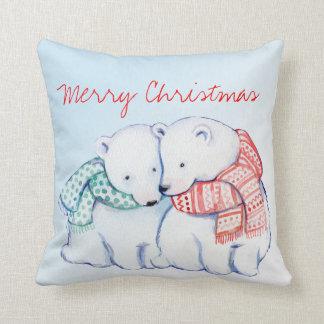 Two Polar Bears Merry Christmas Pillow