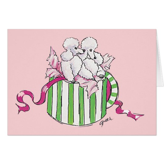 Two Poodles in a Hatbox Retro Art Print
