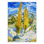 Two Poplars on a Hill Vincent van Gogh Note Card