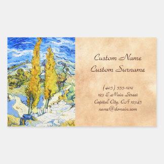 Two Poplars on a Hill Vincent van Gogh Rectangular Sticker