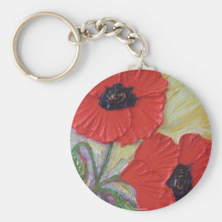 Two Poppies Basic Round Button Key Ring