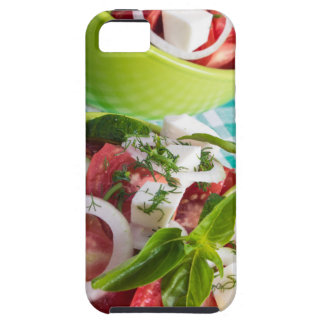 Two portions of useful vegetarian meal closeup iPhone 5 cover