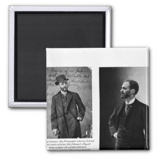 Two portraits of George Eastman  1884 and 1890 Square Magnet