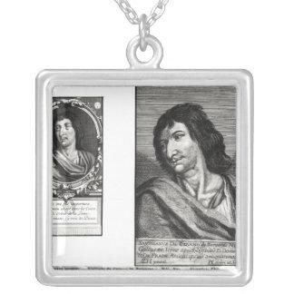 Two portraits of Savinien Cyrano de Bergerac Silver Plated Necklace