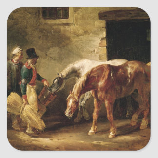 Two Post Horses at the Door of a Stable Square Sticker