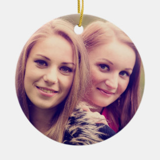 Two pretty girls portrait round ceramic decoration