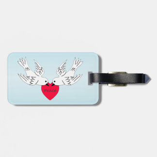 Two Pretty White doves Holding Red Peace Heart Luggage Tag