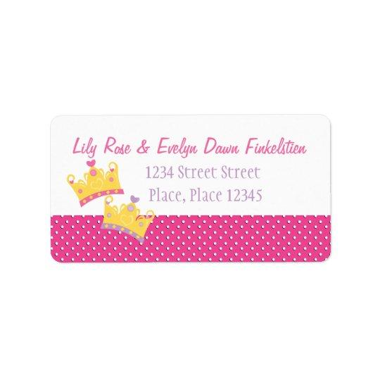 Two Princesses Address Label