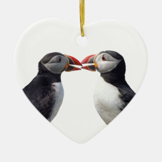 Two puffins christmas ornament