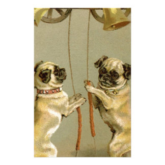 Two pug dogs ringing the Christmas bells Customised Stationery