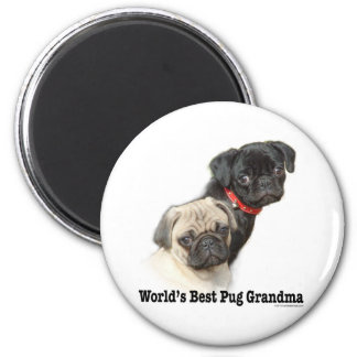 Two Pugs 6 Cm Round Magnet