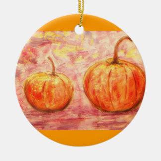 two pumpkins round ceramic decoration