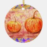 two pumpkins drip ornaments