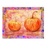 two pumpkins drip post card