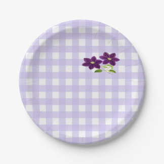 Two Purple Clematis Flowers on Lavender 7 Inch Paper Plate