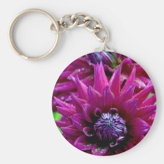 Two purple dahlias flowers in bloom key chains
