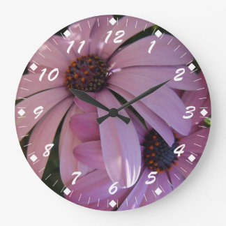 Two Purple Daisies Large Clock