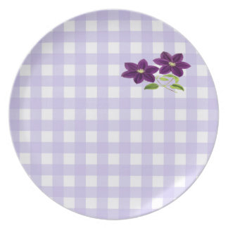 Two Purple Flowers on Lavender Gingham Plate