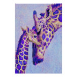 Two Purple Giraffes Poster