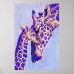 Two Purple Giraffes Poster