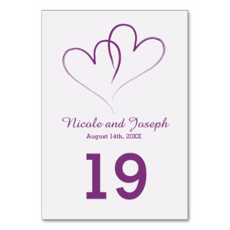Two Purple Hearts intertwined Table Card