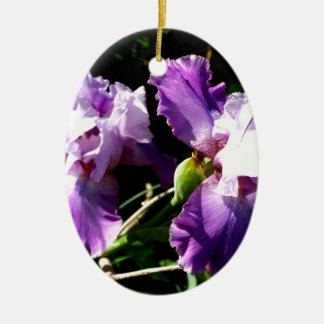 Two Purple Iris Flowers Christmas Ornament