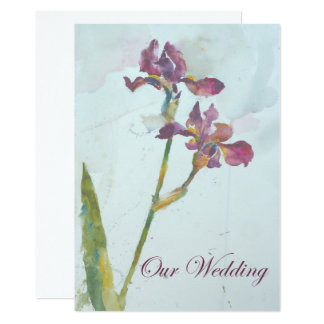 two purple irises wedding invitation