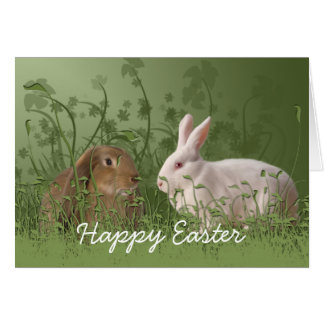 Two Rabbits Easter Card