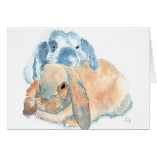 Two Rabbits Greeting Cards