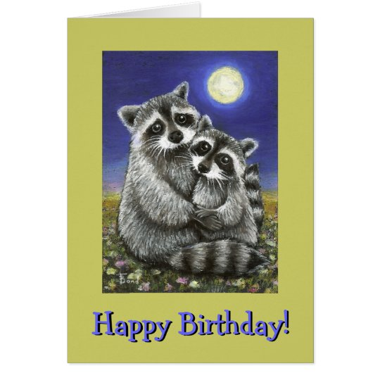 Two raccoons madly in love card