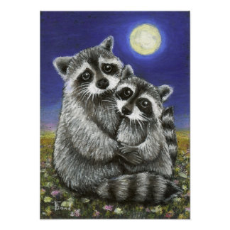 Two raccoons madly in love print