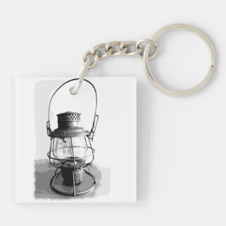 Two Railroad Lanterns Double-Sided Square Acrylic Key Ring