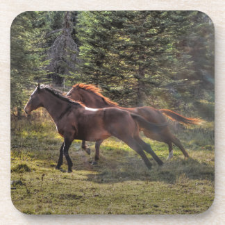 Two Ranch Horses Running in Forest Drink Coaster