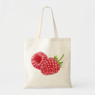 Two raspberries tote bag