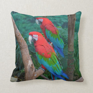 Two Red and Green Winged Macaws Ara Chloropterus Throw Pillow