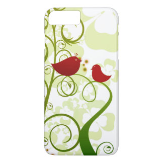 Two red birds in a tree iPhone 7+ cell phone case