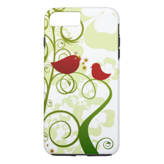 Two red birds in a tree iPhone 7+ Tough phone case