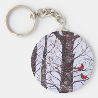 Two Red Birds In Winter Key Ring