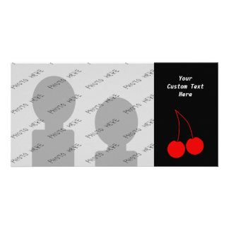 Two Red Cherries on Black. Personalized Photo Card