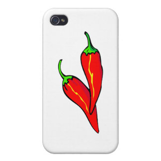 Two Red Chili Peppers on Side Cover For iPhone 4